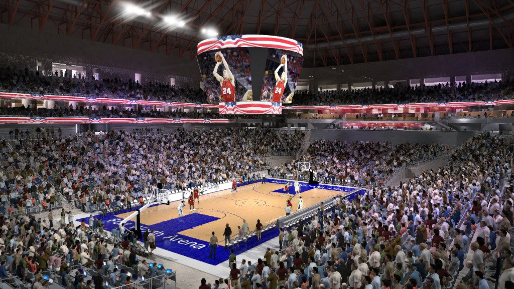 Rendering of a backetball game inside the new Multipurpose Arena Fort Worth scheduled to open in 2019.