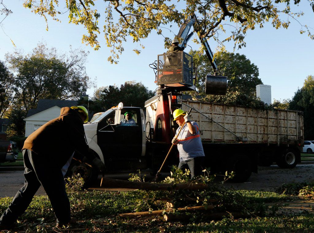 Dallas Sanitation Services employees Gustave Nealy, left, Darrell Wortham, in cab, Atmos Matthews, Rotoboom Operator, top, and Daniel Crane pick up bulk trash in the 6200 block of Revere Place in east Dallas on Monday, November 21, 2016.