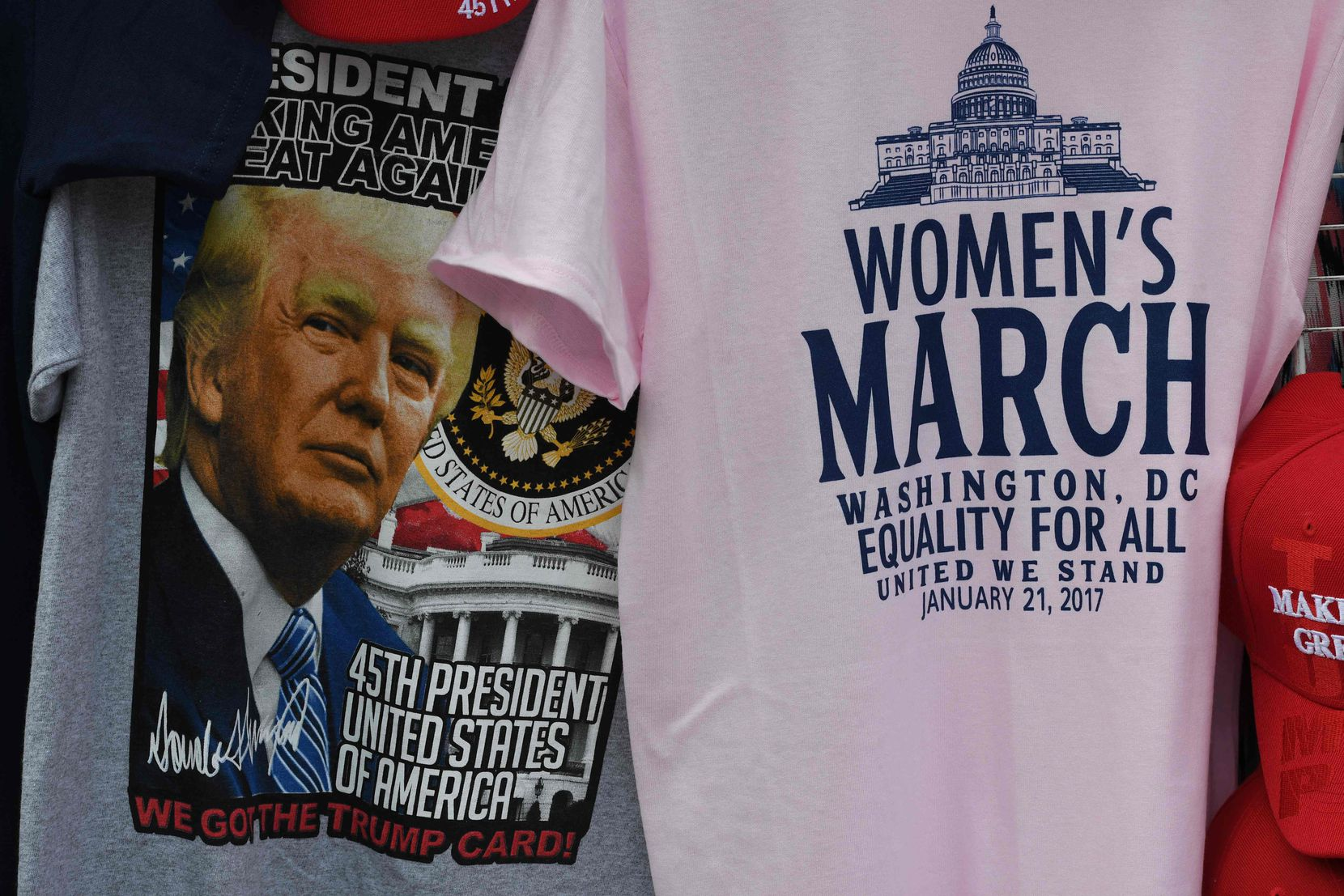 President-elect Donald Trump merchandise on sale outside the White House in Washington, DC, on January 19, 2017, as final preparations are underway a day ahead of the inauguration of the 45th US president.