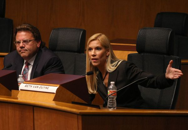 Two divergent paths: Irving Mayor Herbert Gears (left) lost two mayoral races to Beth Van Duyne (right) pictured here in one of their debates. Van Duyne worked in the Trump administration. She's now running for Congress. Gears just completed his bankruptcy filing.