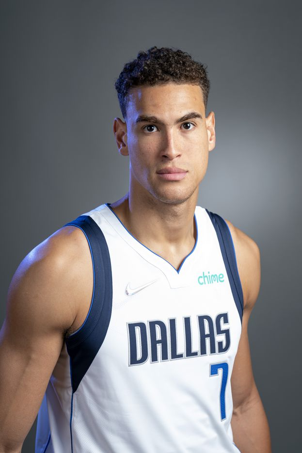 Dallas Mavericks center Dwight Powell (7) poses for a portrait during the Dallas Mavericks media day, Monday, September 27, 2021 at American Airlines Center in Dallas. (Jeffrey McWhorter/Special Contributor)