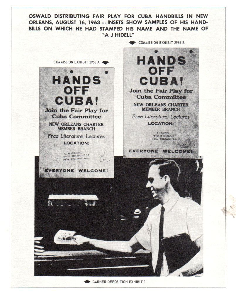 """Warren Commission Exhibits 2966a and Exhibit 2966b: Lee Harvey Oswald distributing """"Fair Play for Cuba"""" handbills in New Orleans on Aug. 16, 1963. Insets show samples of his handbills, on which he had stamped his name and the name of A.J. Hidell."""