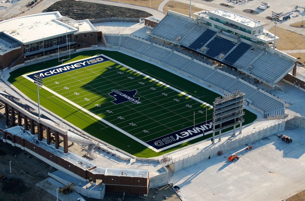 Construction continues at McKinney ISD stadium in McKinney on March 1.