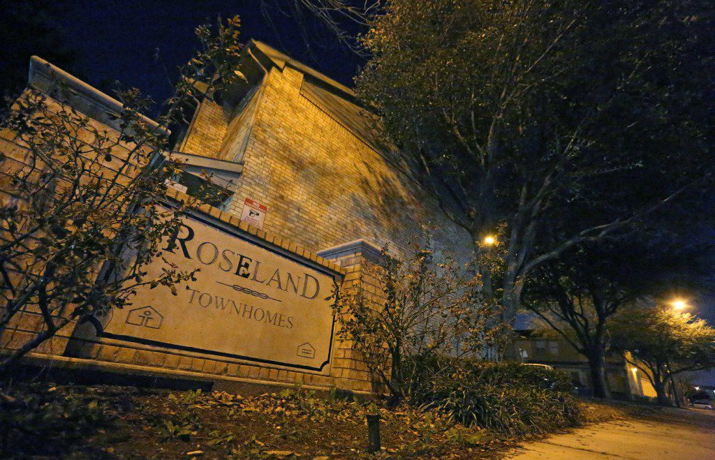 The entrance to Roseland Townhomes in Dallas, photographed on Thursday, January 19, 2017. (Louis DeLuca/The Dallas Morning News)