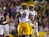 LSU safety Marcel Brooks (9) celebrates a sack during the first half of the team's NCAA college football game against Texas A&M in Baton Rouge, La., Saturday, Nov. 30, 2019.