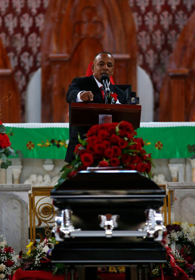 Ignacious Jean delivers the eulogy during the funeral of Botham Shem Jean at Minor Basilica of the Immaculate Conception in Castries, St. Lucia on Monday, September 24, 2018. Jean was shot and killed in his apartment by off duty Dallas police officer Amber Guyger. (Vernon Bryant/The Dallas Morning News)