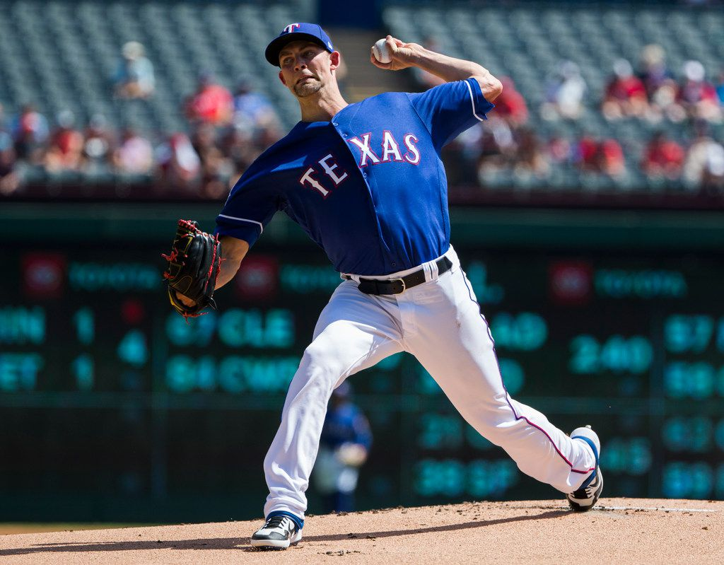 Texas Rangers starting pitcher Mike Minor (23) pitches during the first inning of an MLB game between the Boston Red Sox and the Texas Rangers on Thursday, September 26, 2019 at Globe Life Park in Arlington. (Ashley Landis/The Dallas Morning News)