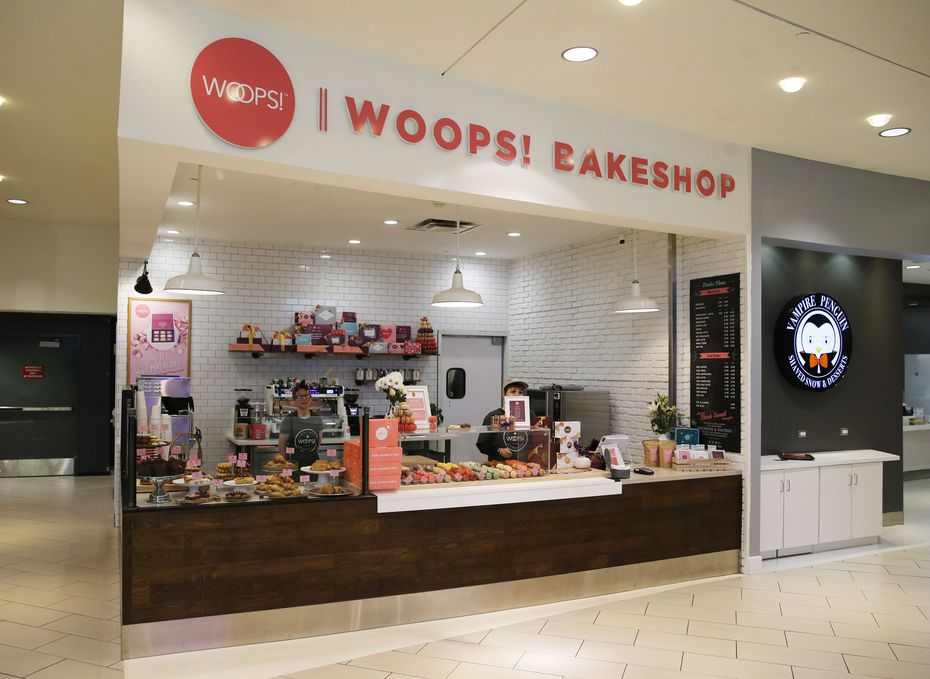 Woops! Bakeshop in Dallas is on the bottom floor of the Galleria. It looks right at the ice rink.
