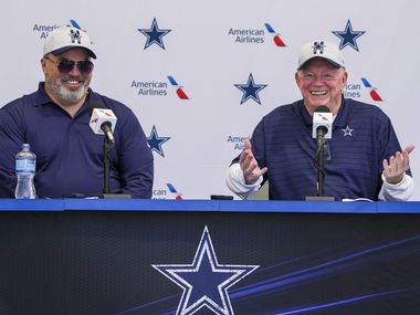 Dallas Cowboys owner and general manager Jerry Jones (right) addresses the opening news conference for team's training camp with head coach Mike McCarthy on Wednesday, July 21, 2021, in Oxnard, Calif.