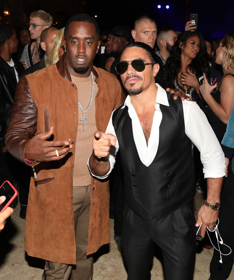 """Salt Bae"" Nusret Gökçe, on right, is spotted in December 2017 in Beverly Hills, California, with Sean ""Diddy"" Combs."