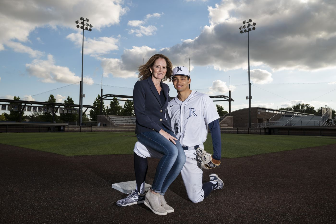 Jesuit senior shortstop Jordan Lawlar, 18, and his mother Hope Lawlar on the baseball diamond on the campus of Jesuit College Preparatory School of Dallas, on Tuesday, May 04, 2021.