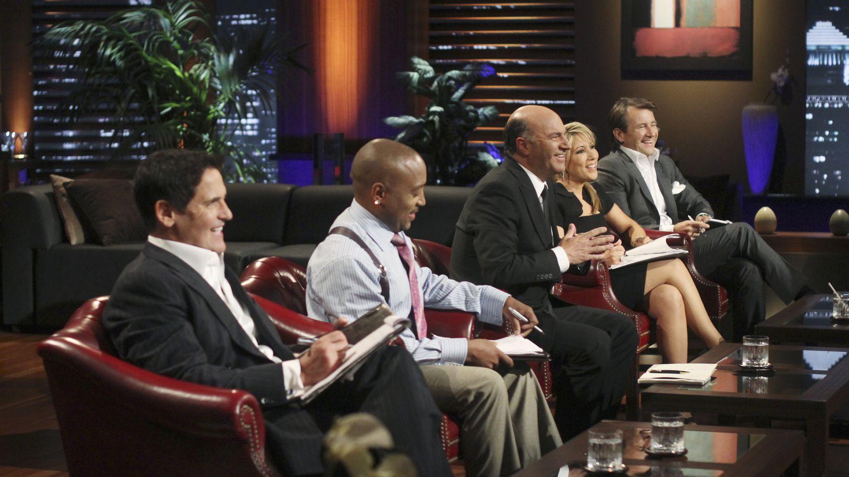 Shark Tank's celebrity investors, including Dallas Mavericks owner Mark Cuban (left).