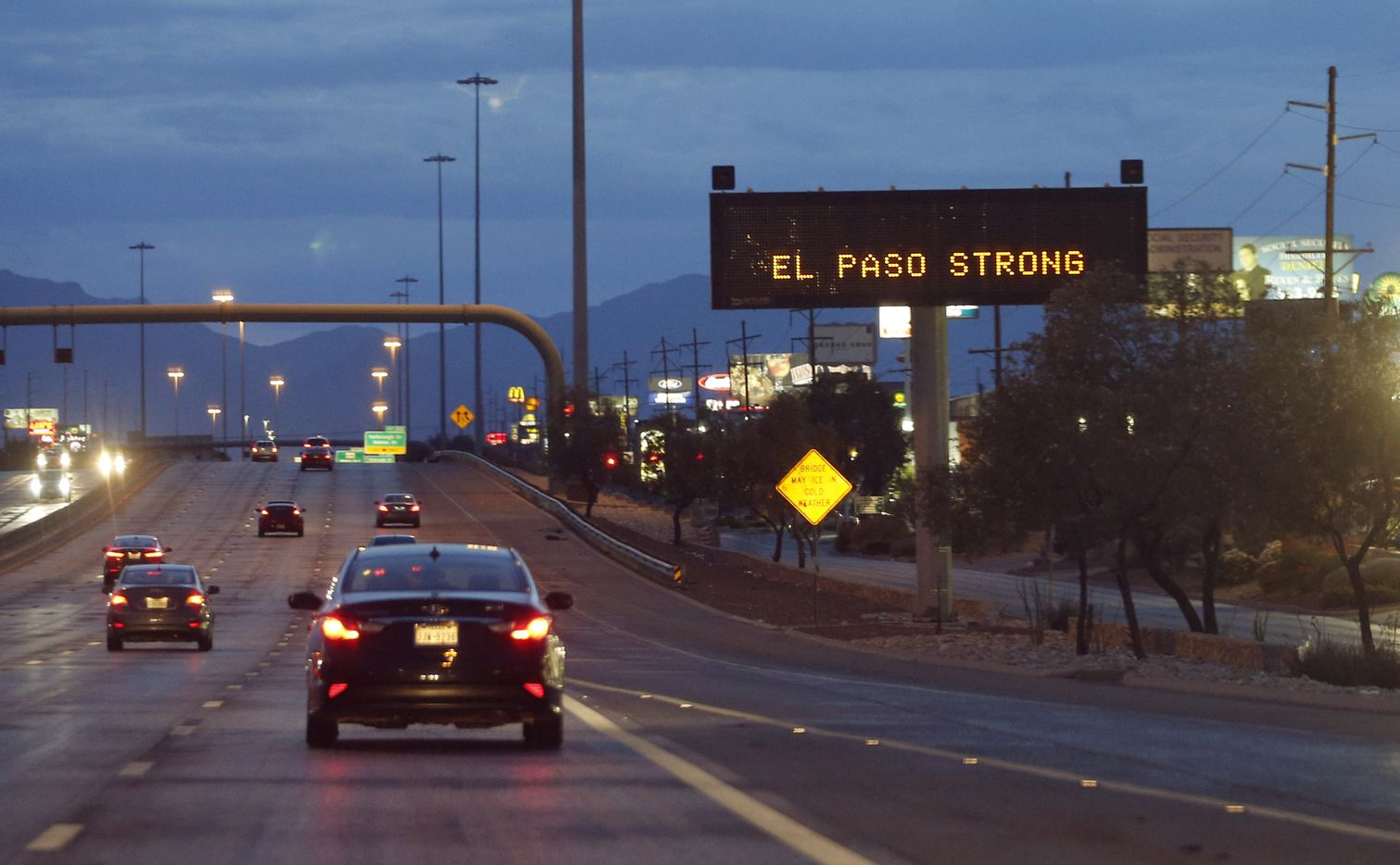 El Paso Strong sign along I-10 in El Paso, Texas on Sunday, August 4, 2019. 20 people were shot and killed and 26 more were wounded at a Walmart in El Paso on Saturday.