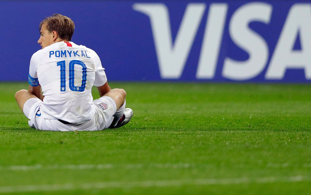 United States' Paxton Pomykal reacts during the Group D U20 World Cup soccer match between Ukraine and USA in Bielsko Biala, Poland, Friday, May 24, 2019. (AP Photo/Sergei Grits)