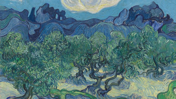 """""""The Olive Trees,"""" on loan from the Museum of Modern Art in New York,  is a companion piece to the world-famous """"The Starry Night,"""" painted at the same time."""