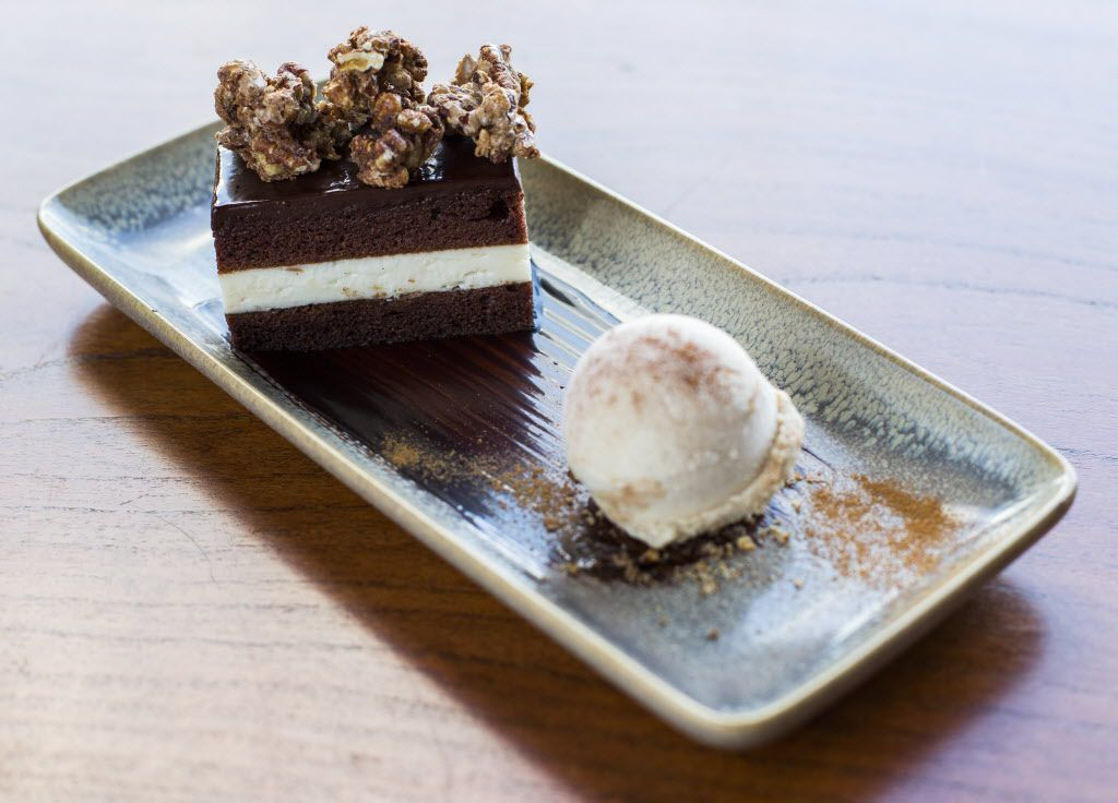 Texas chocolate sheath cakewith horchata ice cream