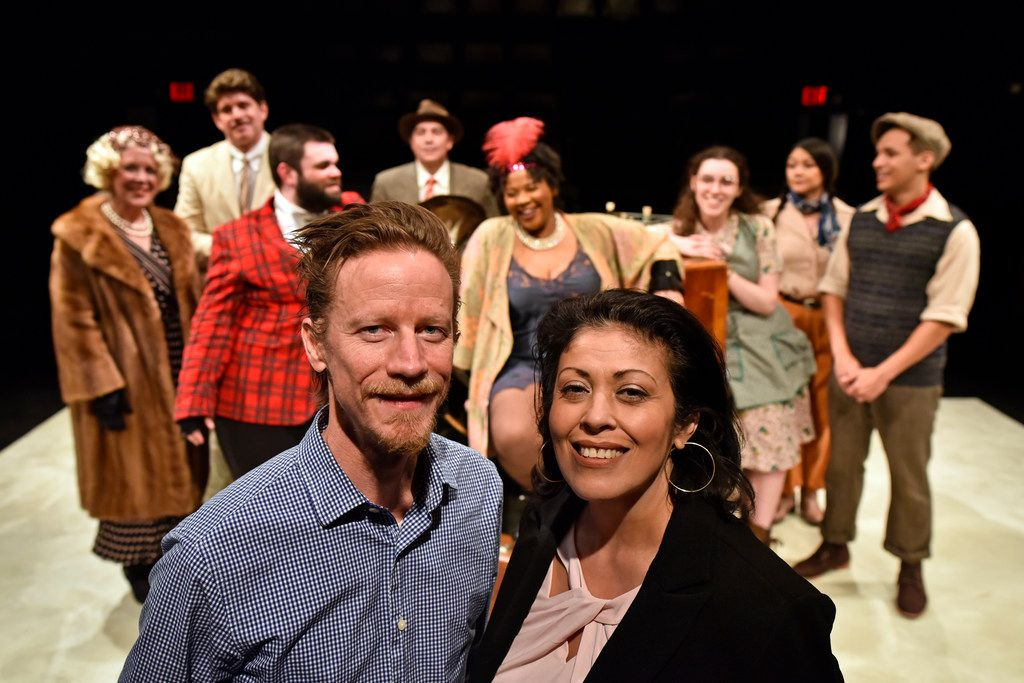 Co-writers David Goodwin and Christie Vela after a Saturday night preview of The Last One Nighter on the Death Trail Starring the Disappointment Players, at Theatre Three, with the cast behind them.