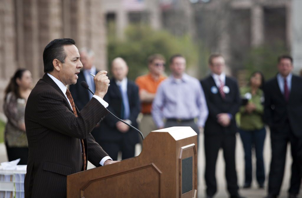 State senator Carlos Uresti spoke at a rally held outside on the steps of the State Capitol for protesters against the budget cuts for nursing homes and in-home care stand outside the State capitol steps in Austin, Texas on Tuesday, March 22, 2011. THAO NGUYEN/SPECIAL CONTRIBUTOR