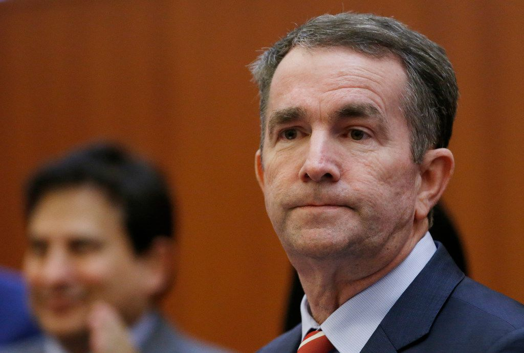 Virginia Gov. Ralph Northam prepares to address a news conference at the Capitol in Richmond, Va., Thursday, Jan. 31, 2019. Northam made a statement and answered questions about the late term abortion bill that was killed in committee. (AP Photo/Steve Helber)