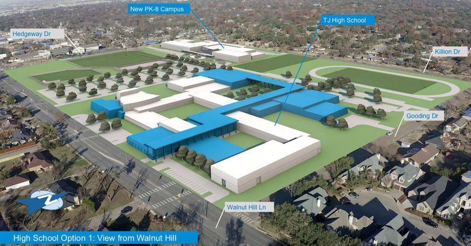 Así quedaría el nuevo campus si se decide aprovechar lo que quedó en pie (en blanco) y construir áreas nuevas (en azul) en la preparatoria Jefferson. Al fondo a la derecha se observa la nueva escuela PreK - 8.