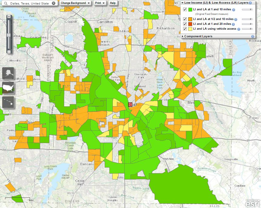 The U.S. Department of Agriculture's food desert map for Dallas, last updated on Nov. 17.