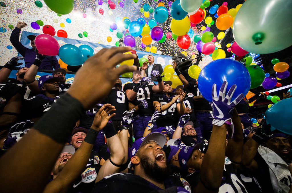 TCU Horned Frogs celebrate a 39-37 win over the Stanford Cardinals after the Valero Alamo Bowl on Thursday, December 28, 2017 at the Alamodome in San Antonio. (Ashley Landis/The Dallas Morning News)