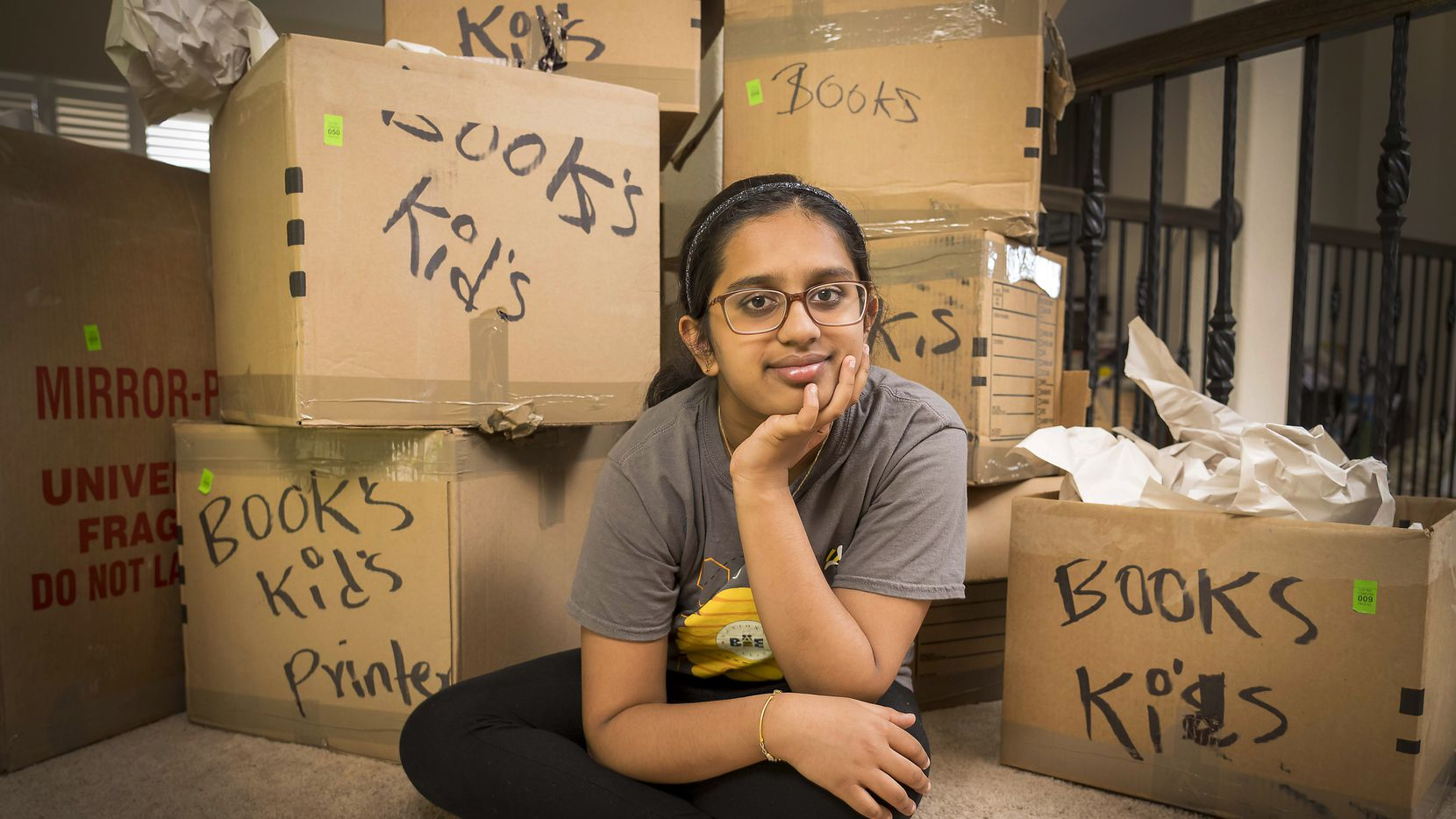 Chaitra Thummala photographed at her home on Tuesday, July 13, 2021, in Frisco, Texas. Thummala, 12, finished second at the Scripps National Spelling Bee finals last week. She is originally from San Francisco but her family recently moved to Frisco. (Smiley N. Pool/The Dallas Morning News)