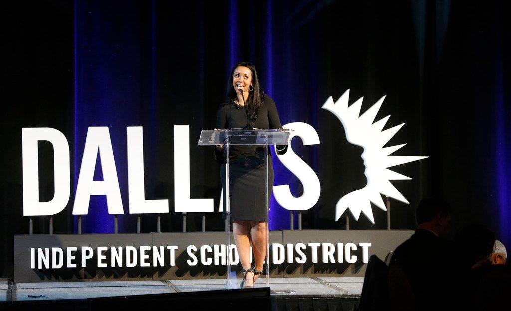 Dallas Independent School District chief of staff Dr. Pamela Lear speaks at the Dallas ISD State of the District in Dallas on Friday.