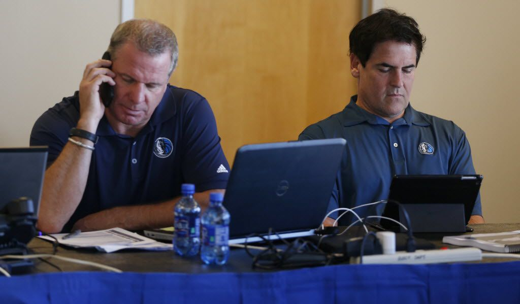 Director of Player Personnel Tony Ronzone and Owner Mark Cuban in the war room prior to the Dallas Mavericks Draft at the American Airlines Center in Dallas, Texas on Thursday, June 25, 2015.