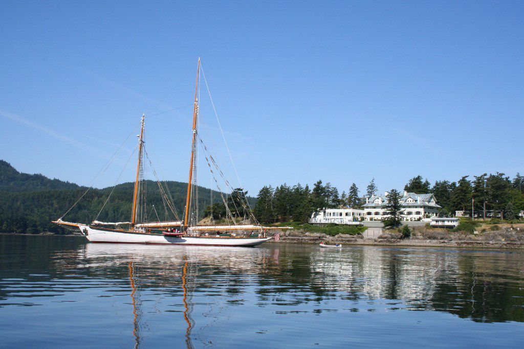 Boat in the water at Rosario Resort on Orcas Island