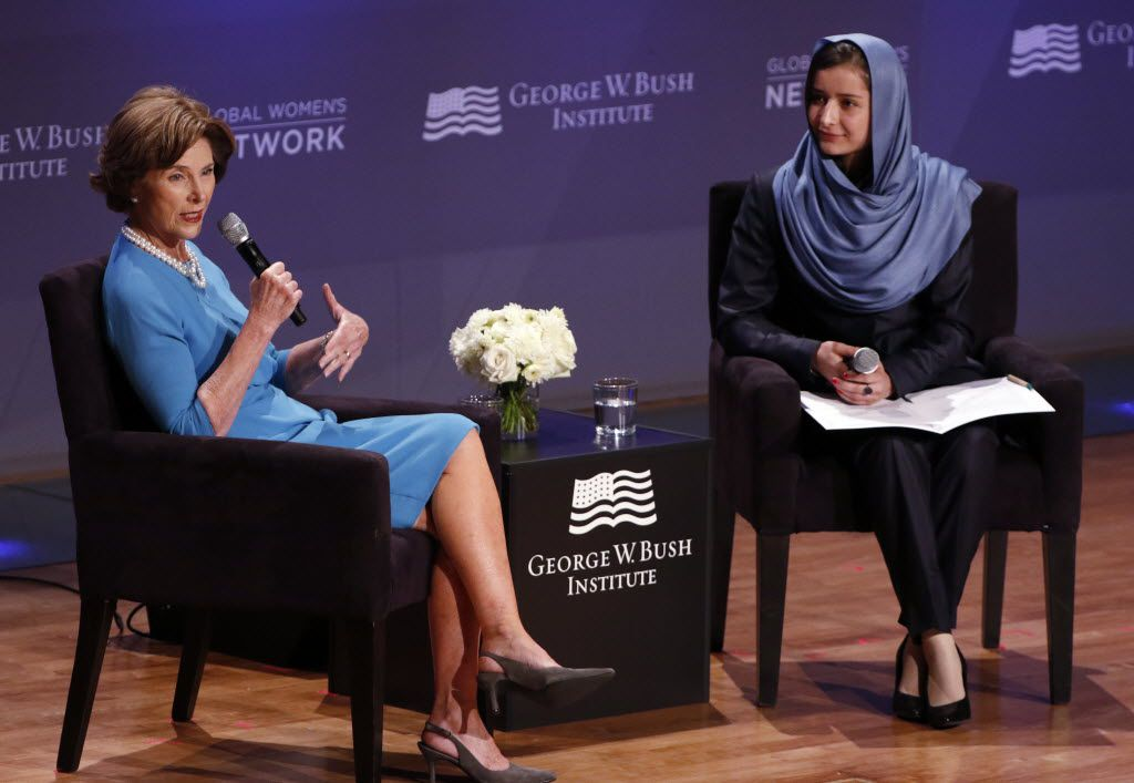 """Former first lady Laura Bush and Razia Jan spoke during a program highlighting the book """"We Are Afghan Women: Voices of Hope"""" at the George W. Bush Presidential Center in Dallas."""