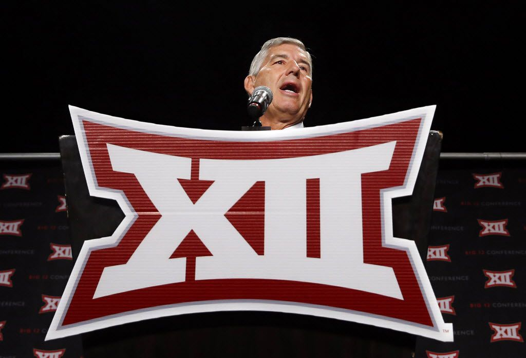 From behind the podium, Big XII Commissioner Bob Bowlsby address the media assembled for the Big 12 Conference Football Media Days at the Omni Dallas, July 16, 2016. (Tom Fox/The Dallas Morning News)