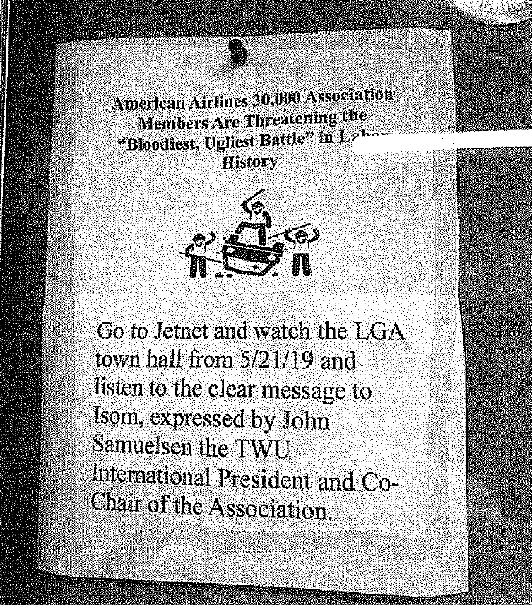 """An American Airlines mechanics' union flier submitted in court filings promises the """"bloodiest, ugliest battle"""" in labor history."""