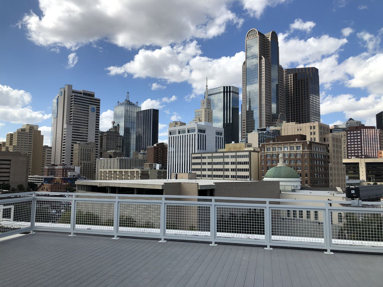 The rooftop deck has close-up view of the downtown skyline.