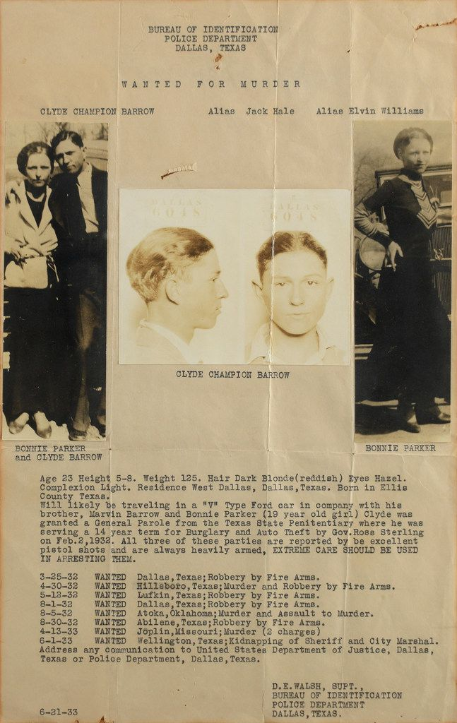 In this July 29, 2019, photo provided by RR Auction, a wanted poster of Bonnie Parker and Clyde Barrow is shown.