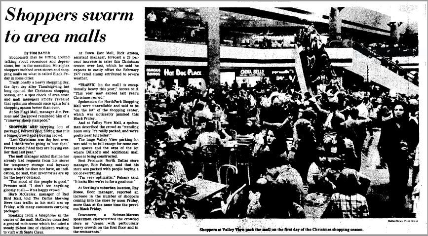 """Shoppers swarm to area malls"" was the headline on an article by Tom Bayer in November 1978."