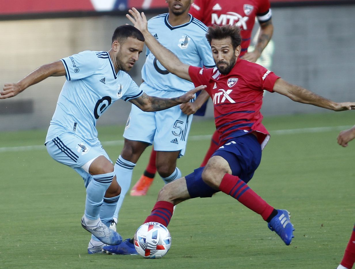FC Dallas midfielder Fecund Quignon (5), right, moves in defensively to challenge Minnesota United forward Franco Fragapane (7) for ball possession during first half action. The two teams played their MLS match at Toyota Stadium in Frisco on June 19, 2021. (Steve Hamm/ Special Contributor)