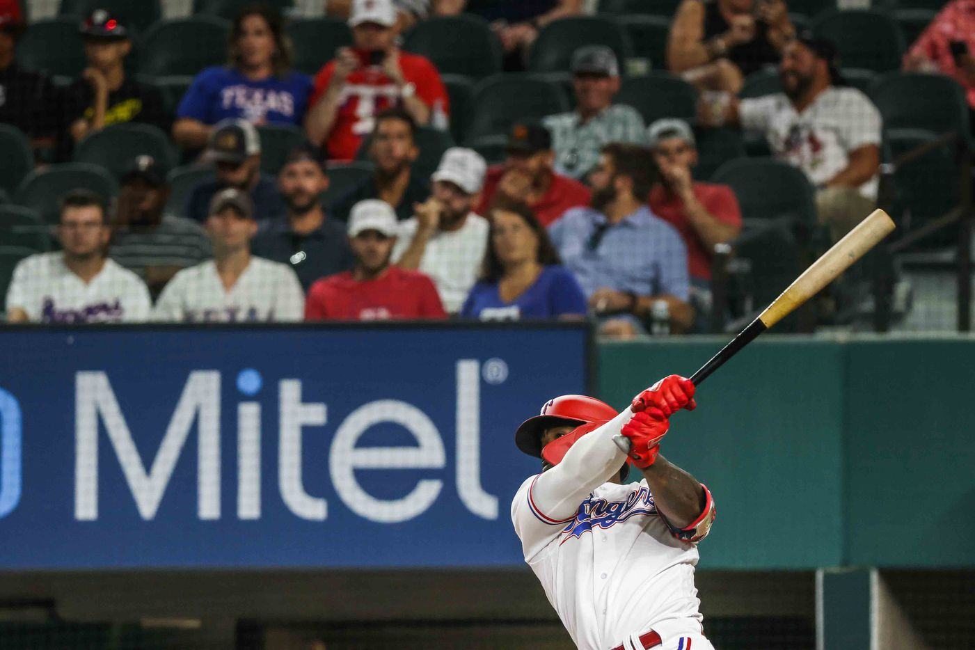 Adolis Garcia (53) bats during Arizona Diamondbacks at Texas Rangers game at the Globe Life Field in Arlington, Texas on Wednesday, July 28, 2021. (Lola Gomez/The Dallas Morning News)