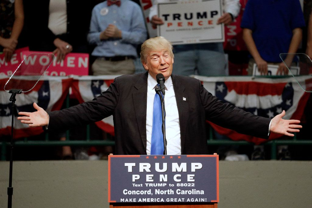Donald Trump spoke during a campaign rally Thursday in Concord, N.C. (Chuck Burton/The Associated Press)