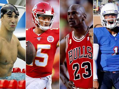 Some of our staff's picks for Best Athlete I've Ever Covered include the likes of (left to right) Olympic swimmer Michael Phelps, Kansas City Chiefs quarterback Patrick Mahomes, NBA legend Michael Jordan and former Allen High School star quarterback Kyler Murray. (File photos, The Dallas Morning News and Getty Images)