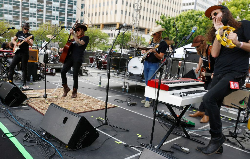 The Texas Gentlemen perform at the Old 97's Country Fair held at Main Street Garden in downtown Dallas Saturday April 8, 2017. (Ron Baselice/The Dallas Morning News)