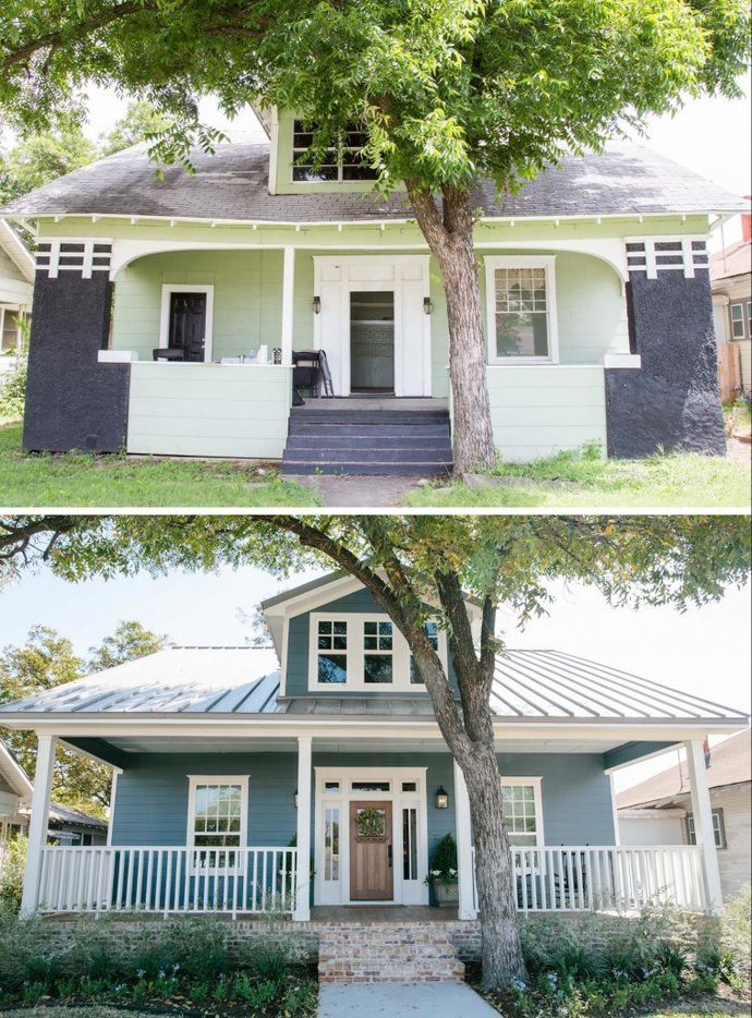 """The """"Three Little Pigs"""" house, seen before and after renovation."""