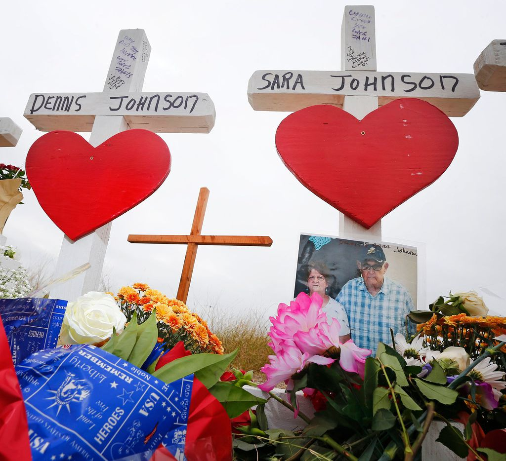Dennis and Sara Johnson's memorial in front of First Baptist Church in Sutherland Springs on Nov. 10, 2017. The church was the site of a shooting that killed 26 parishioners.