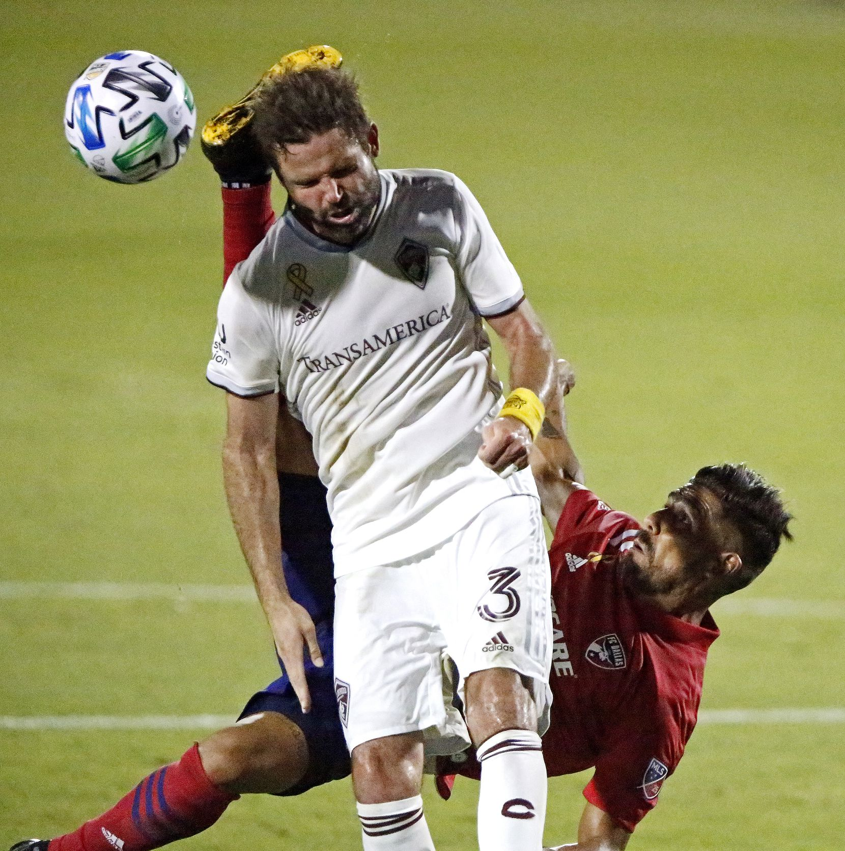 Colorado Rapids defender Drew Moor (3) gets a boot to the head from FC Dallas forward Franco Jara during the first half as FC Dallas hosted the Colorado Rapids at Toyota Stadium in Frisco on Wednesday night, September 16, 2020. (Stewart F. House/Special Contributor)