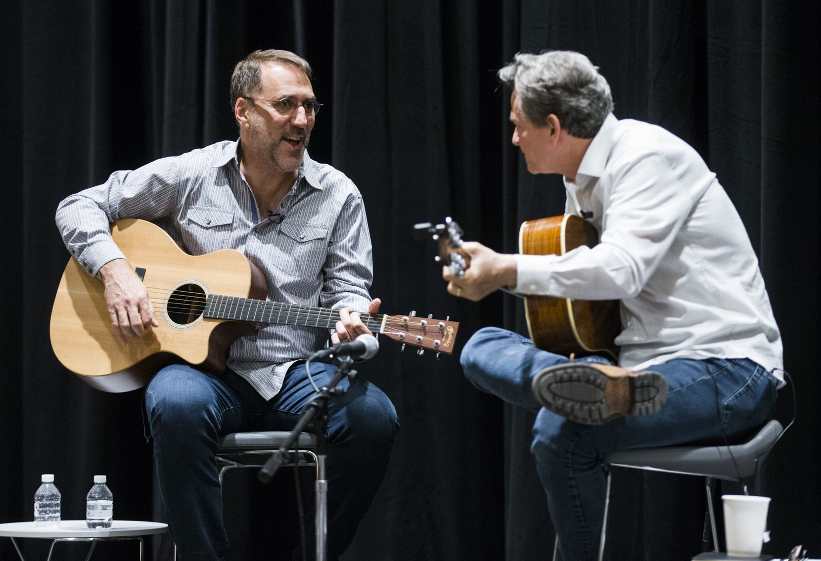 Songwriter Billy Crockett (right) and editor Mike Wilson entertained Dallas Morning News subscribers in a community engagement event last year in Dallas.