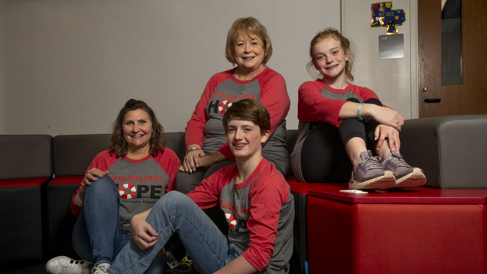 Hope Squad student and staff members at Highland Park Middle School include seventh-grade counselor Christen Armer, eighth-grade counselor Margaret Arnold, eighth-grader Cole Farley, 14, and seventh-grader Anna Butler, 13.