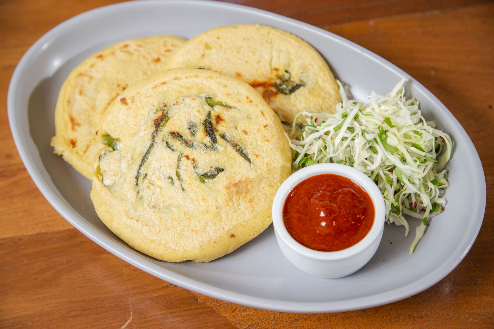 A plate of pupusas at Jose restaurant in Dallas, Tuesday, November 24, 2020. (Brandon Wade/Special Contributor)