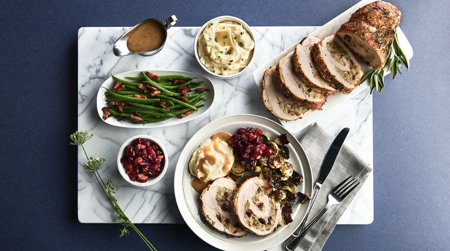 One of Oceanaire's four 2020 Thanksgiving menus includes a stuffed turkey roulade with sage and dried cranberry stuffing, sour cream mashed potatoes, homemade cranberry chutney, turkey gravy and green beans almondine.