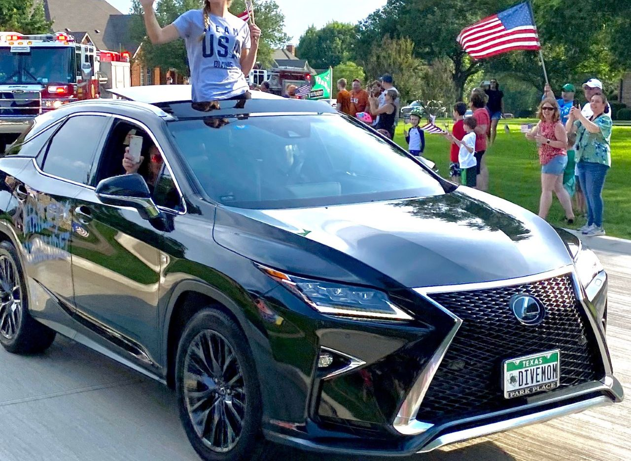 Hailey Hernandez is pictured in an impromptu parade after returning from the U.S. Olympic Team Trials. Southlake is set to hold an official parade for Hernandez at Southlake Town Square on July 9 at 5:30 p.m.