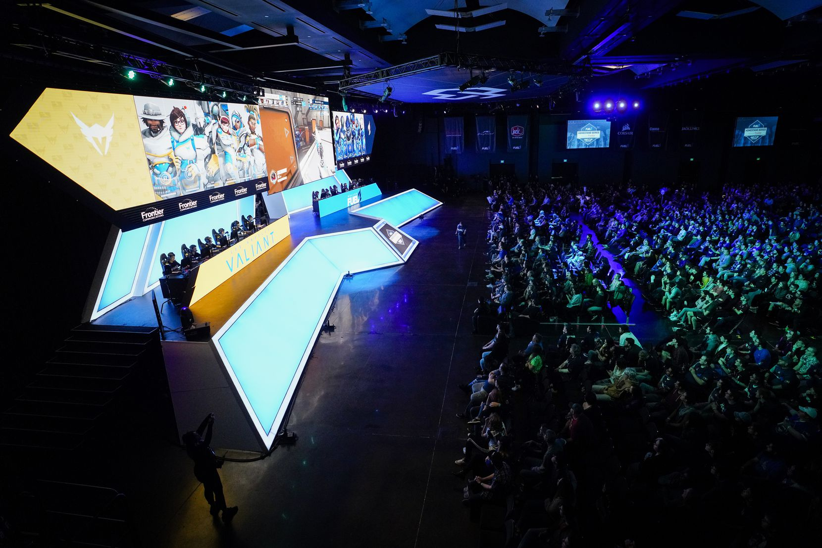 The Dallas Fuel face the  Los Angeles Valiant in a Overwatch League match at the Arlington Esports Stadium on Saturday, Feb. 8, 2020, in Arlington.